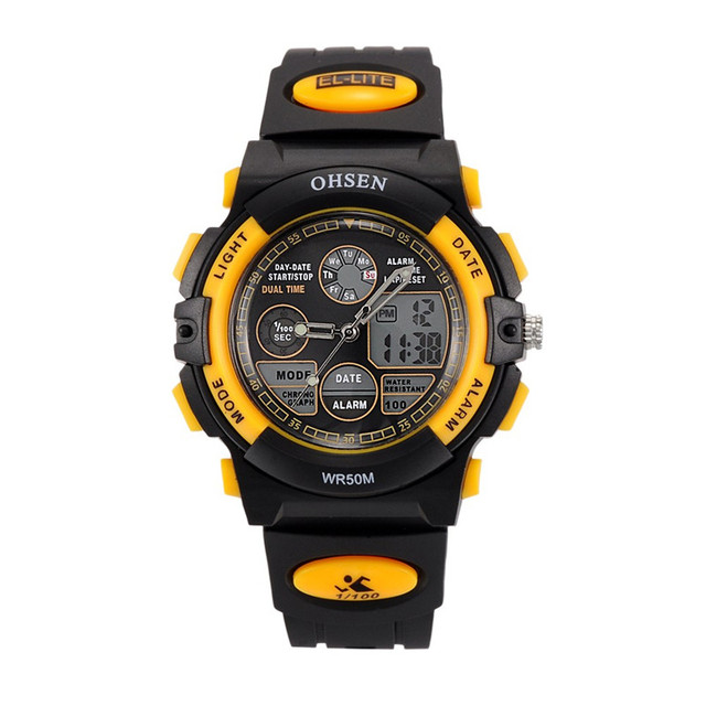 Homens OHSEN relógios de Pulso Militar Esportes Relógio Eletrônico Digital LED Relógios de Quartzo Pulseira de Borracha Relogio masculino