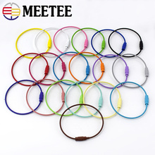 20pcs Meetee 1.5*150mm Key Chain O D Rings Buckles Screw Lock Paint Wire Rope Cable Holder 19 Colors