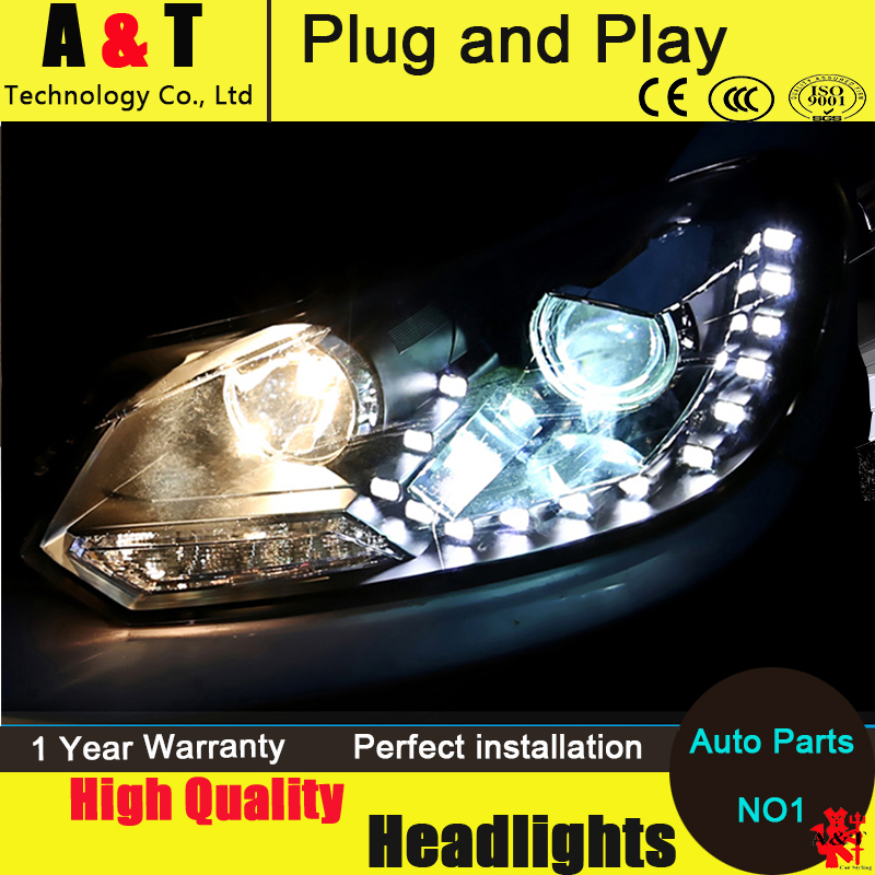 Car styling Led Head Lmap for vw Golf 6 headlight assembly 2009-2012 led headlight led drl turn signal drl H7 with hid kit 2pcs. car styling head lamp for bmw e84 x1 led headlight assembly 2009 2014 e84 led drl h7 with hid kit 2 pcs
