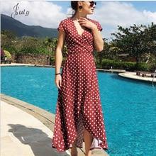 2019 summer chiffon dress V-neck wave point bohemian leisure vacation beach fashion Vestidos Free shipping