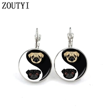 New / style glamorous fashion Yin Yang dog photo earrings, convex and concave glass inlaid earrings jewelry.