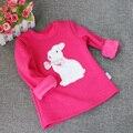 Muchachas del invierno Camiseta de Los Niños Remata Camisetas Blusa de Terciopelo Flojo Lindo Conejo de Tocar Fondo Camisas de Manga Larga Ropa de Los Niños para 1-4years