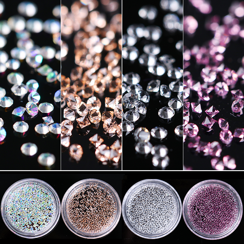 300pcs 1.2mm Zircon Nail Rhinestones Micro Glitter Rhinestones Mini Shiny Nail Art Decorations Manicure Accessories approx 300pcs box 1 2mm zircon nail rhinestones nail art micro rhinestones mini nail rhinestones manicure decorations 24125