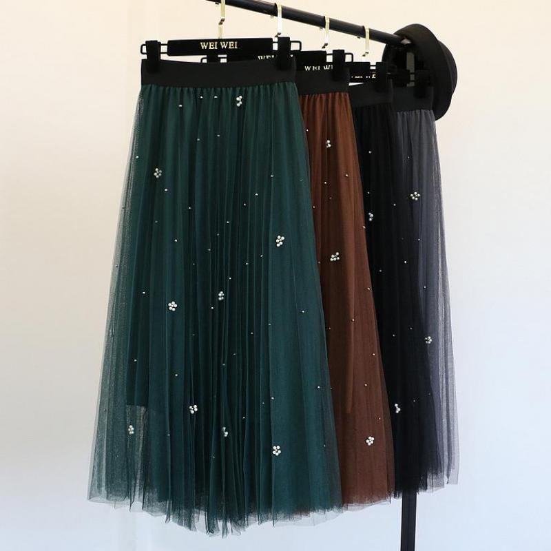 2020 Summer New Style Temperament Self-cultivation Of Pearl Gauze Elastic High Waist Skirt Tulle Skirt Free Shipping