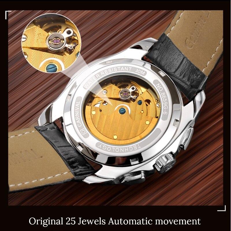 Модные механические часы для мужчин, роскошный бренд, карнавал, многофункциональные автоматические часы для мужчин, самовзводные, календарь, кожаный ремешок, светящийся - 4