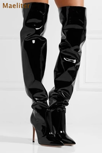 Maeliter Brand New Sexy Patent Leather Boots Shiny Mirror Leather Surface Dress Boots Eye-sighted Thigh High Boots For Nightclub
