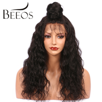 Beeos Water Wave Full Lace Human Hair Wigs For Black Women With Baby Hair 130 Density