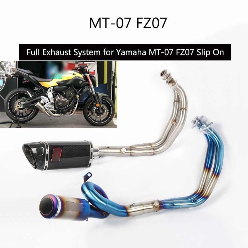 (Dispositif complet) pour Yamaha MT-07 FZ07 Tuyau D'échappement sans lacet Moto Tête Mi Queue Tuyau 51mm Échapper Ne DB Killer
