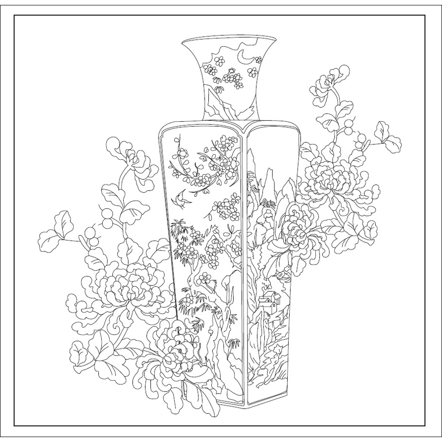 Classical Chinese Elements Coloring Book Secret Garden Coloring Book ...