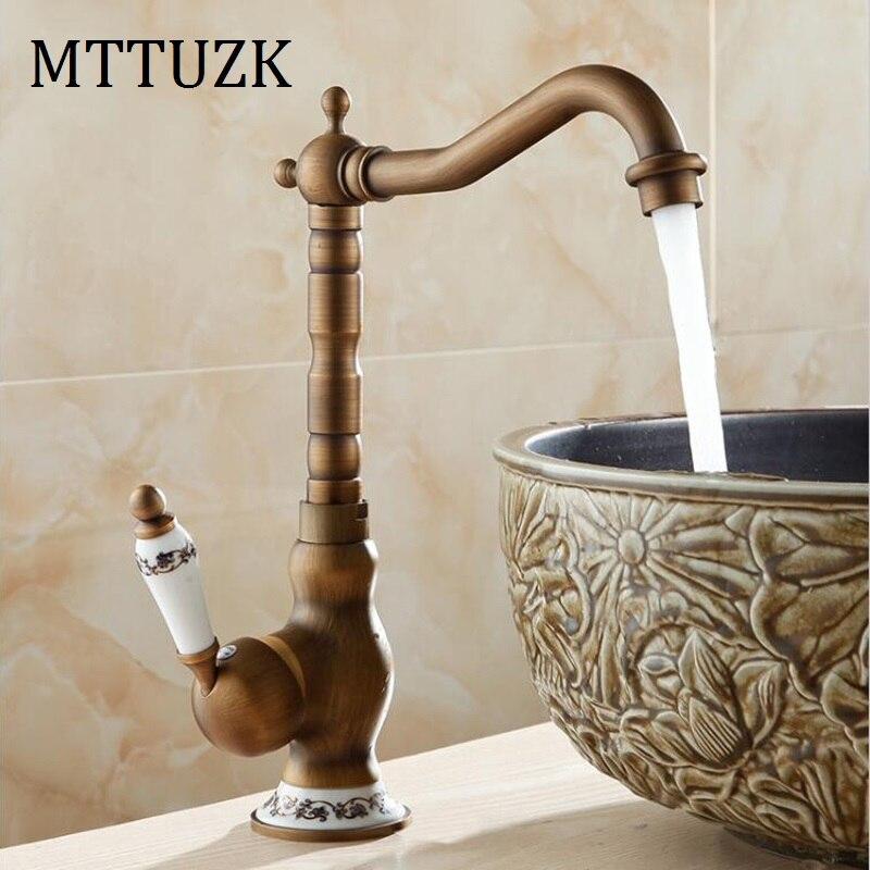 MTTUZK Antique en laiton massif robinet de salle de bain mitigeur monotrou salle de bain table bassin mélangeur chaud et froid robinet de bassin