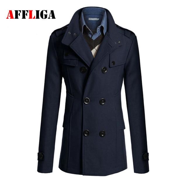 d8ad0e69912c0 2017 Autumn Sobretudo Masculinos Preto Cool Mens Coats Overcoats Double  Breasted Men Wool Coat Business Casual Trench Coat Men