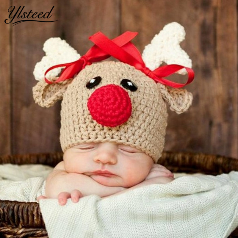 Ylsteed Baby Hats Photo-Props Photography-Accessories Christmas-Deer Shooting Baby-Boy-Girl-Cap