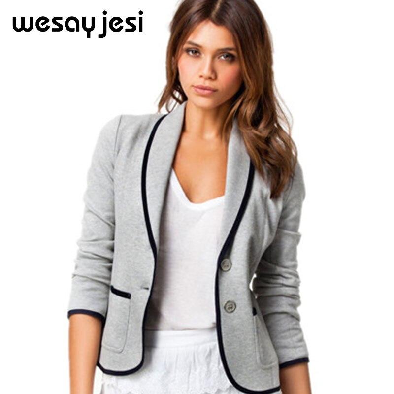 Пиджак женщин блейзеры и Куртки S-6XL размер плюс размер пиджак для женщин feminino с карманами v-образным вырезом Полный рукавом Твердые женские ...