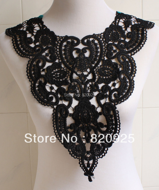 1 x Beautiful Black Fabric Flower Venise Lace Sewing Applique DIY Craft Garment Bags Accessories