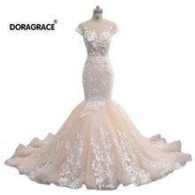 Doragrace Real Photos Applique Backless Wedding Gowns Mermaid Dresses