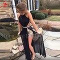 Preto longo Prom Dress 2016 Sexy abrir voltar Slit Side Prom formal vestido de festa cocktail vestidos baratos menos de 100 dólares