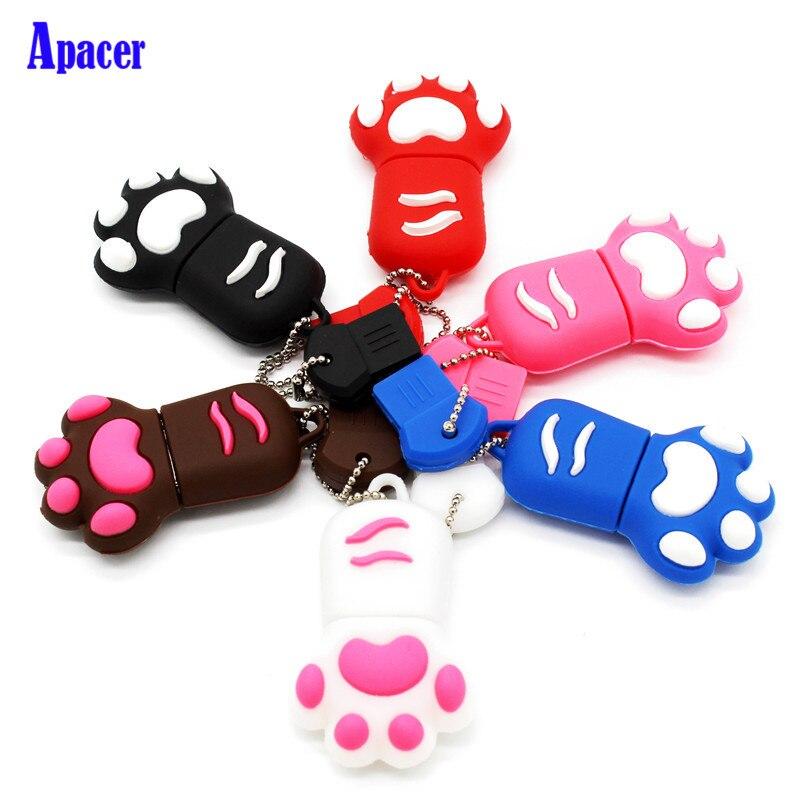 Apacer Cartoon Usb flash drive 8gb 16gb 32gb 64gb cat's claw pendrive gift usb stick cartoon usb 2 0 flash drive red black 8gb