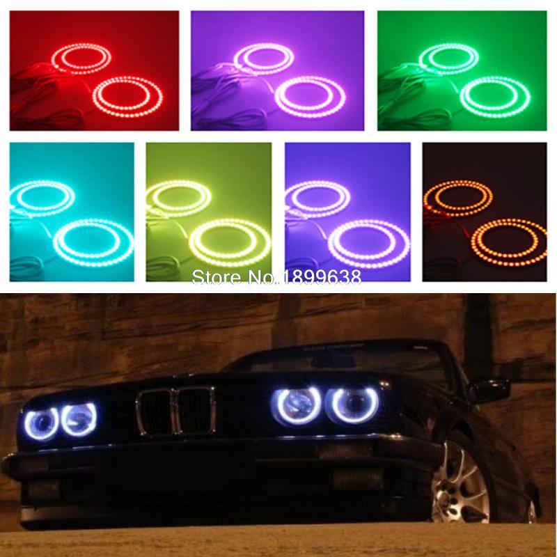 4pcs Super bright 7 color RGB Multi-Color LED Angel Eyes Kit with a remote control For BMW E30 E32 E34 1984 - 1990 4x 120mm rgb multi color wifi remote control halo rings angel eyes led headlights for bmw e32 e34 e30 12v light kits