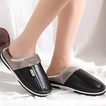2019 Winter House Slippers Women Indoor shoes size 9-17 Short plush Leather slippers Non-slip Waterproof Ladies slippers ladies slippers winter genuine leather thick with plush home indoor non slip thermal woman slippers 2018 new maylooks tb013