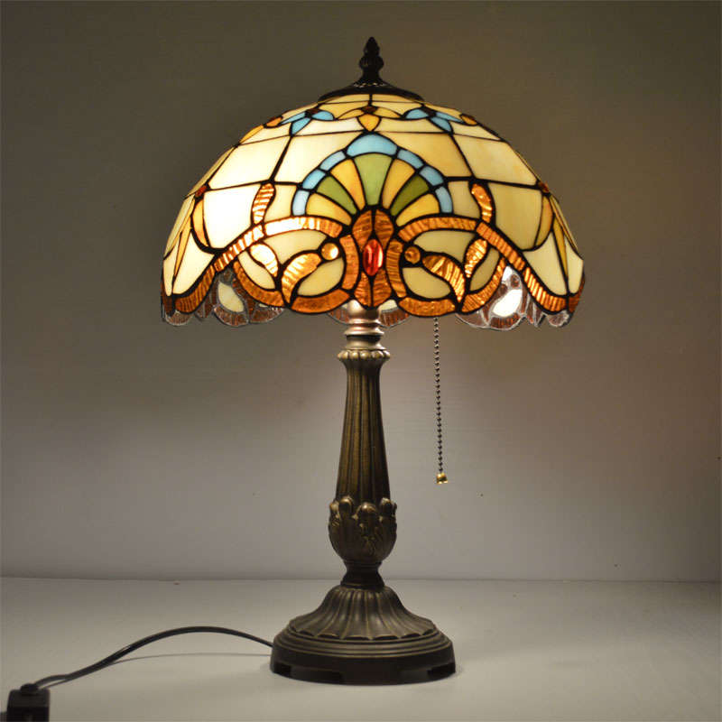 12 Inch Tiffany Table Lamp Stained Glass European Baroque Classic for Living Room E27 110-240V fumat stained glass table lamp high quality goddess lamp art collect creative home docor table lamp living room light fixtures