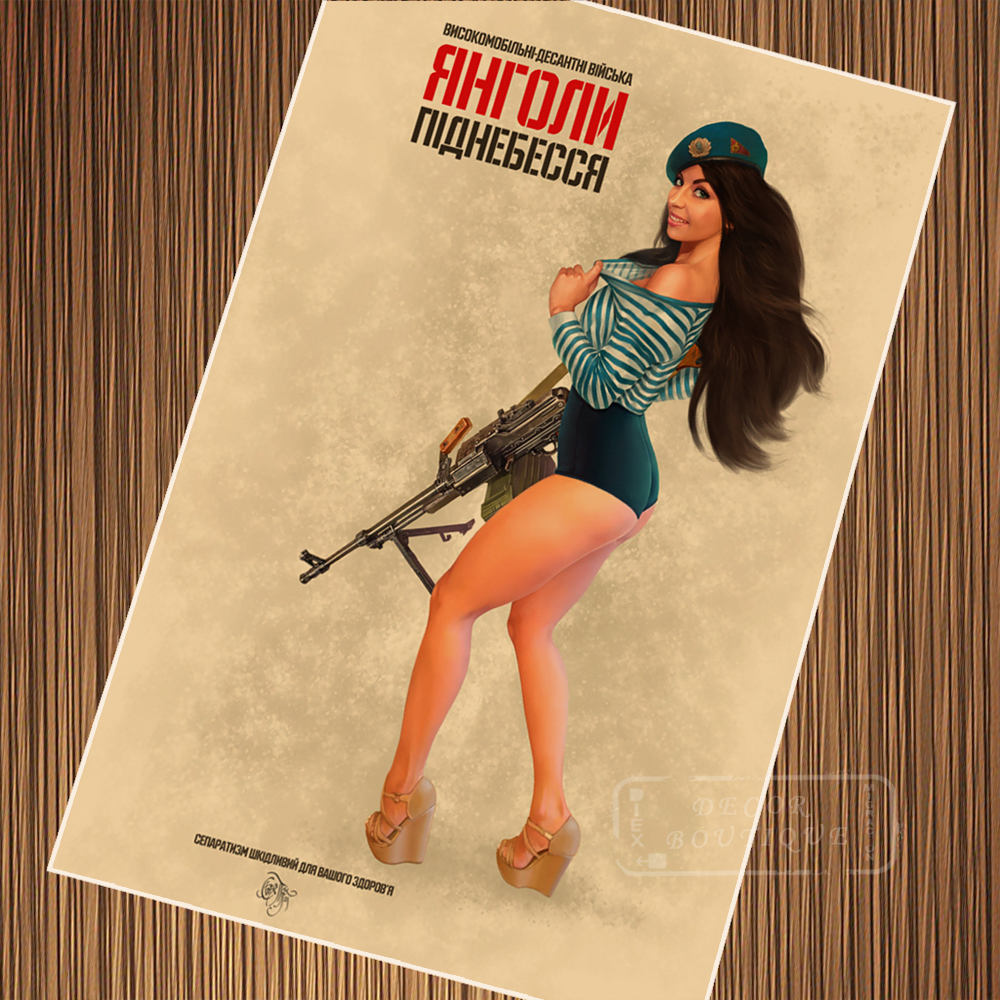 female navy warrior russian soviet pin up girl poster vintage retro posters canvas painting diy