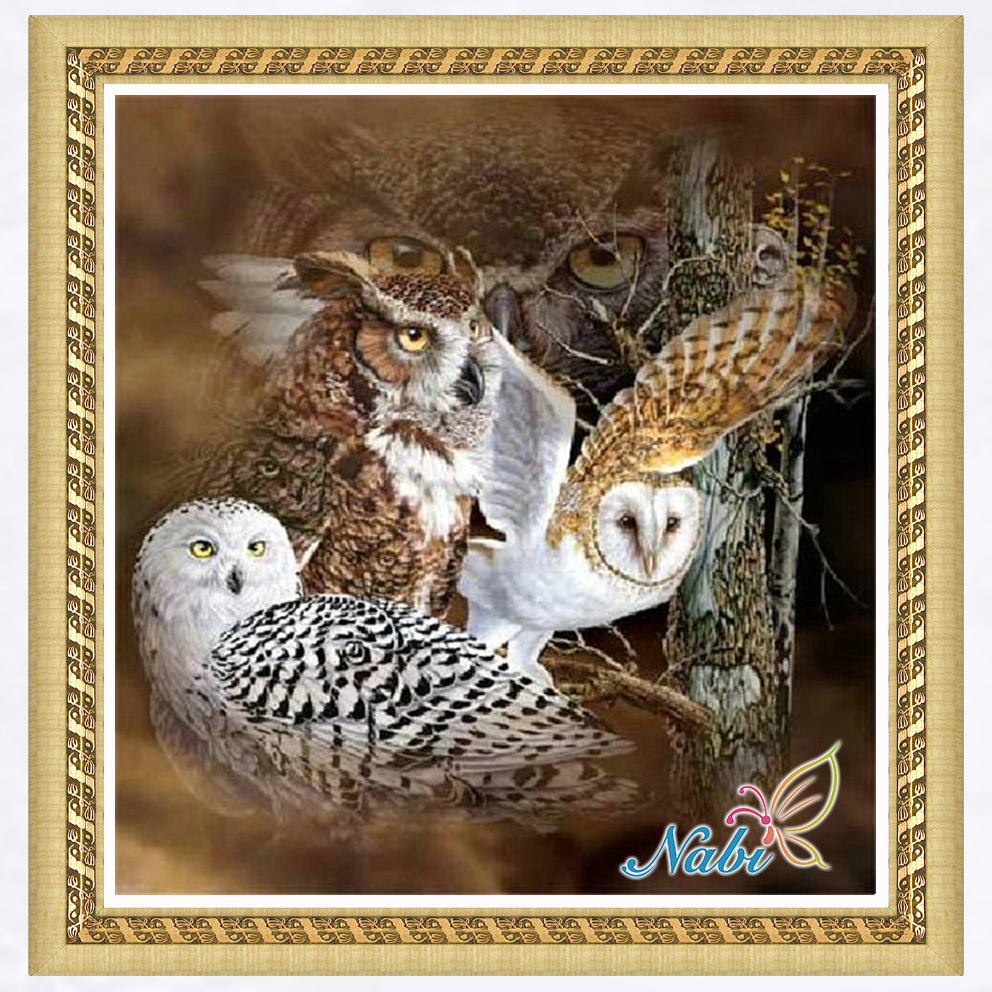 Enthusiastic Animals Owl Full Gear 5d Diy Pictures 4811r Furniture Round Diamond Embroidery Cross Stitch Diamond Mosaic Painting