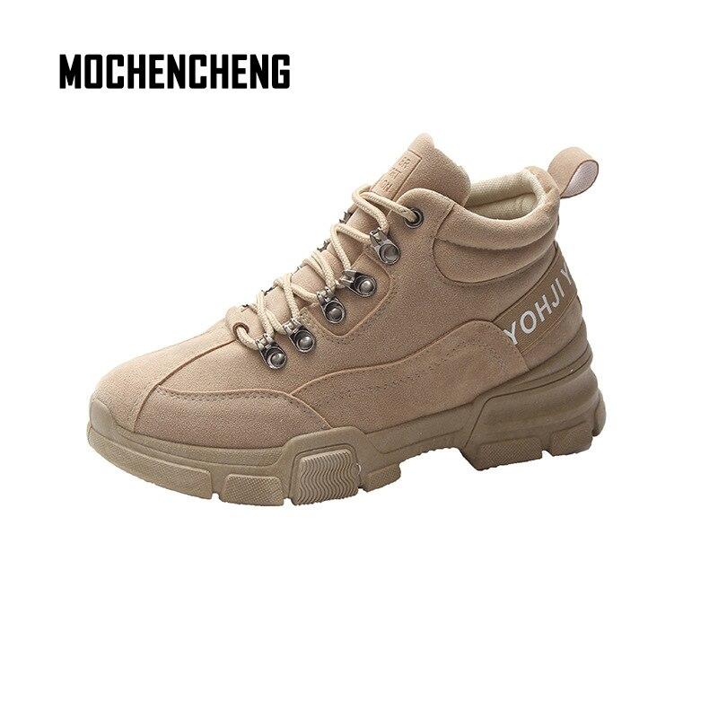 Femme Sneakers Chunky Wedge Plate-Forme Élevée Papa Chaussures Flock haute avec En Peluche Dentelle-up Ronde Orteil Femmes En Caoutchouc Sneaker papa Chaussures