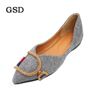 Summer Loafers Women Casual Shoes Moccasins Soft Pointed Toe Ladies Footwear Women Flats Stripe Metal Buckle Shallow Brand Shoe