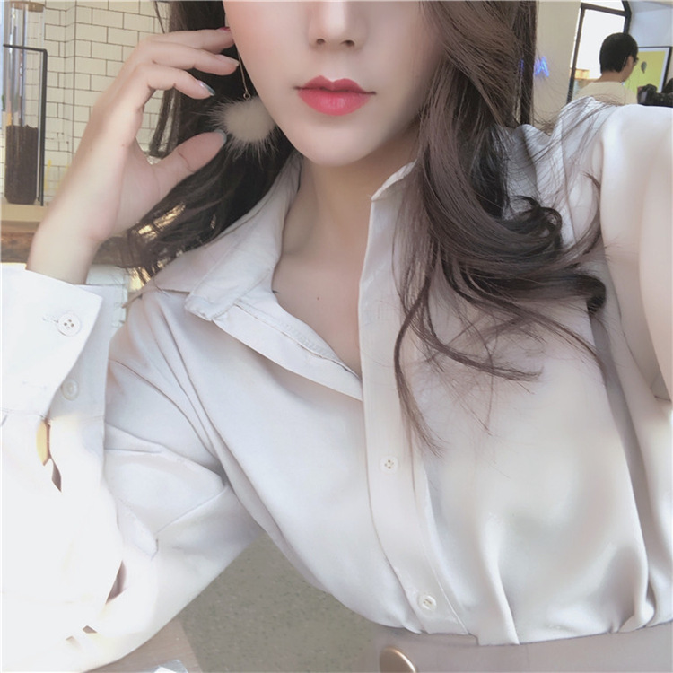 2020 ladies shirt spring and autumn new fashion wild ladies shirt cardigan temperament long-sleeved shirt blouse