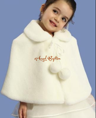 Vintage Autumn Winter wedding warm ivory flower girl faux fur cape princess  jacket wrap kid bolero with tie children stole long flower girl cape winter princess junior bridesmaid cape wedding cloak with fur trim with hand warmer for communion dress
