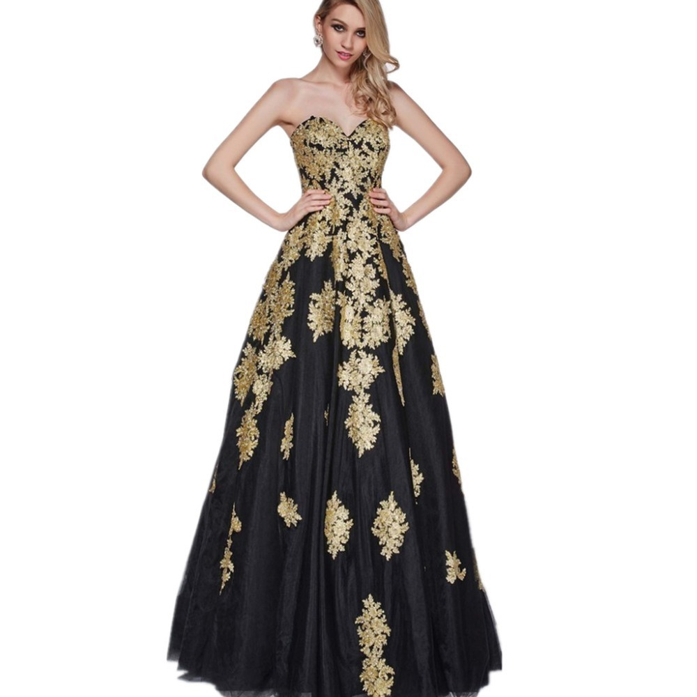 8ad5db0fb0a3 New Taffeta Evening Dresses 2016 Sweetheart Floor Length Party Lycra Black  White Gold Appliques A line Elegant Long Party Dress