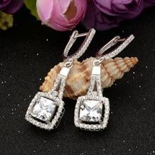 BELLA Elegant 925 Sterling Silver Bridal Earrings Square Cubic Zircon Earrings Jewelry For Wedding Women Bridesmaid Accessory