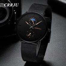 лучшая цена CRRJU Black Watch Men Waterproof Quartz Watches for Men Casual Business Stainless Steel Wristwatch Relogio Masculino Man Clock