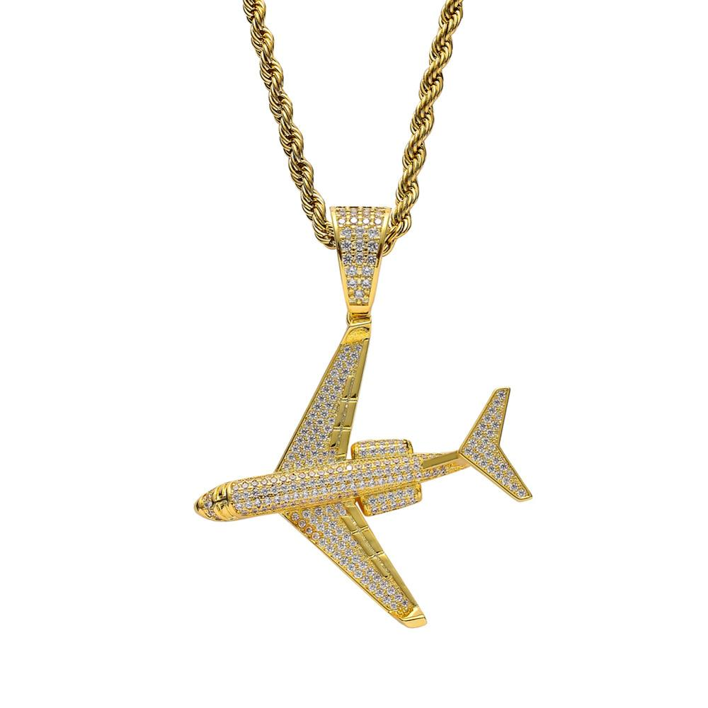 Hip Hop Micro Paved AAA Cubic Zirconia Bling Ice Out Aircraft Pendants Necklaces for Men Jewelry Gold Color