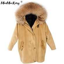 MaoMaoKong Chaqueta larga de pana para invierno, forro de piel sintética, abrigo con pelo de tipo parka, pana real, Cuello de piel de mapache, parkas cálidas