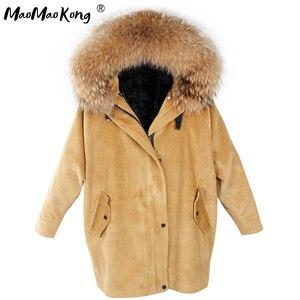 Image 1 - MaoMaoKong Long Corduroy winter faux fur lining jacket coat Women parka fur coat Corduroy real raccoon fur collar warm parkas