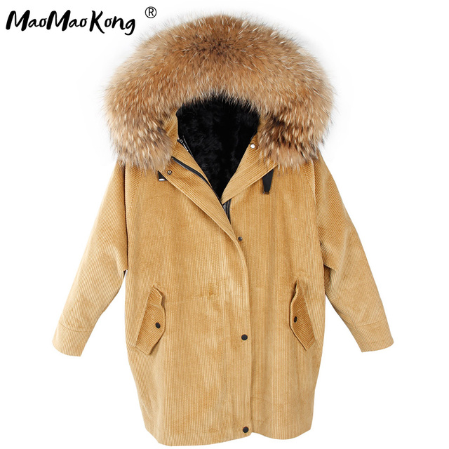 MaoMaoKong Long Corduroy winter faux fur lining jacket coat Women parka fur coat Corduroy real raccoon fur collar warm parkas