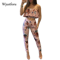 Women Summer Sexy Two Piece Sets Printed Crop Tops Long Pants Ruffles Sleeveless Strapless Backless Sexy
