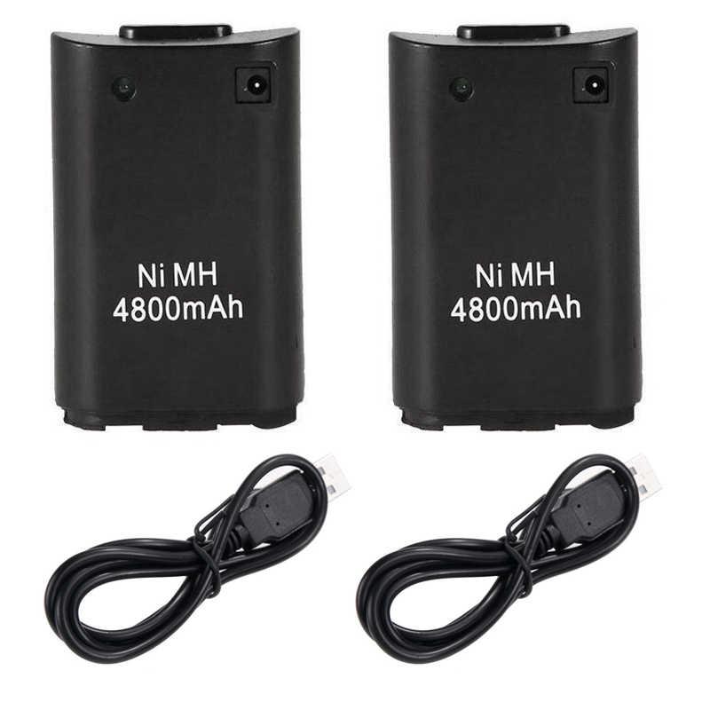 2x4800 mah Batteria Ricaricabile + USB Cavo del Caricatore per Xbox 360 Controller di Gioco Wireless Periferiche e Controller per Videogiochi Per Xbox 360 Batteria