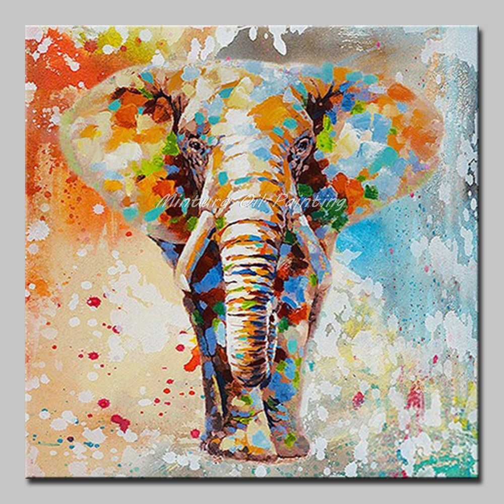 Mintura Art Hand Painted Acrylic Canvas Oil Paintings A Walking Elephant Knife Painting Home Decoration Animal Picture No Framed
