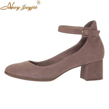 Coffee Chocolate Block Heel Pumps Ankle Buckle Strap Low Heel Spring Summer Shoes Sweet Dress Women Large Size 15 16 NANCYJAYJII