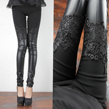 New Queen style HI-Q Lace Skinny Leather pants Women Autumn&Winter leggings Plus size Slim Fashion trousersSpringXQ2005