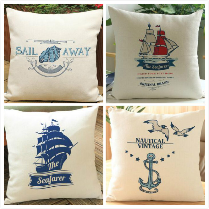 New Ocean sailing boat room printed linen cushion cover Cushion sofa bed car home Dec wholesale FG108