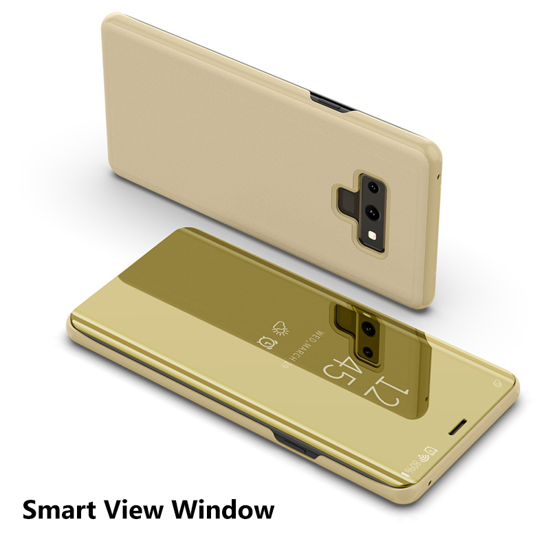 Luxury Clear View Mirror Smart Flip Case For Samsung Galaxy Note 9 Coques PU Leather Smart Cover For Samsung Note9 Housing iPhone XS