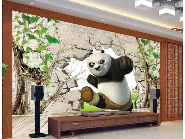 Home Decoration 3D Kung Fu Panda 3d murals wallpaper for living room ...