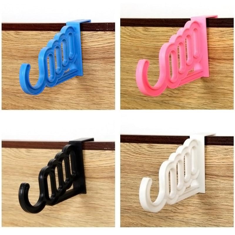Multi-Function Home Accessories Foldable Clothes Hanger Drying Rack 5 Hole Suit Bathroom Door Plastic Organizer Best Pri