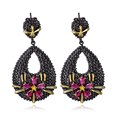 Factory Price Black &Gold Plated  Fuchsia CZ Earrings Made With AAA Cubic Zirconia  Lead Free Party Earring Dropshipping