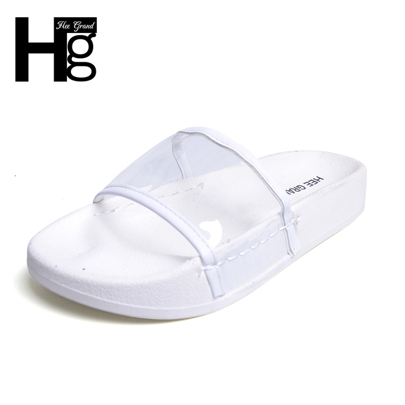 HEE GRAND 2017 Transparent Slippers Summer Slides Platform Shoes Woman Leisure Beach Daily Slip On Women Flat with Shoes XWZ4248 lanshulan bling glitters slippers 2017 summer flip flops platform shoes woman creepers slip on flats casual wedges gold