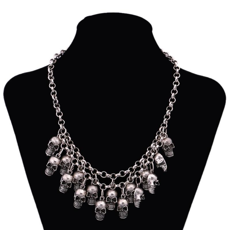 2020 Fashion Rock Punk Skull Necklaces & Pendants Statement Collares Necklace Vintage Pirate Skeleton Women Jewelry 5 Colors