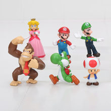 4-6 Cm Super Mario Bros Mario Luigi Peach Yoshi King Kong Katak Action Figure Pvc Mainan Anak Hadiah(China)